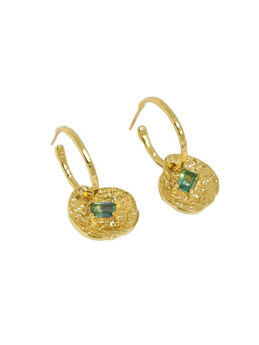 18K gold [with pure Tremella plug] 925 Sterling Silver Cubic Zirconia Geometric Vintage Huggie Earring
